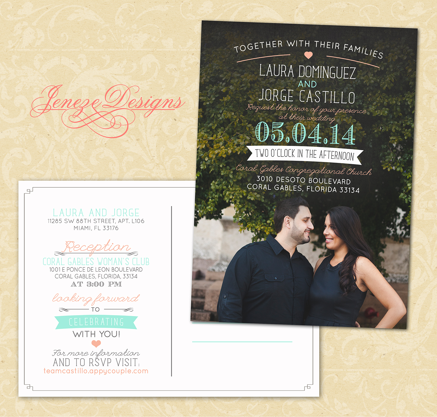 Postcard Style Wedding Invitation Jeneze Designs