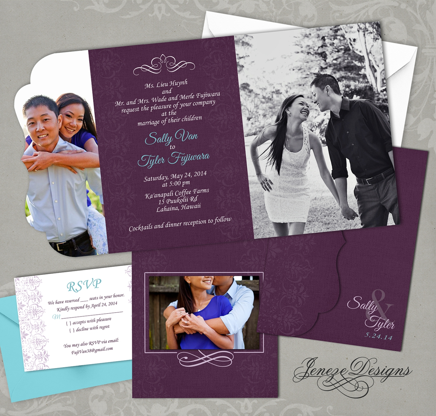 custom tri fold wedding invitation jeneze designs