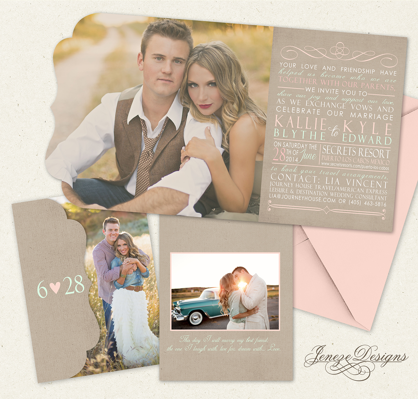 Rose and Mint Trifold Wedding Invitations Jeneze Designs