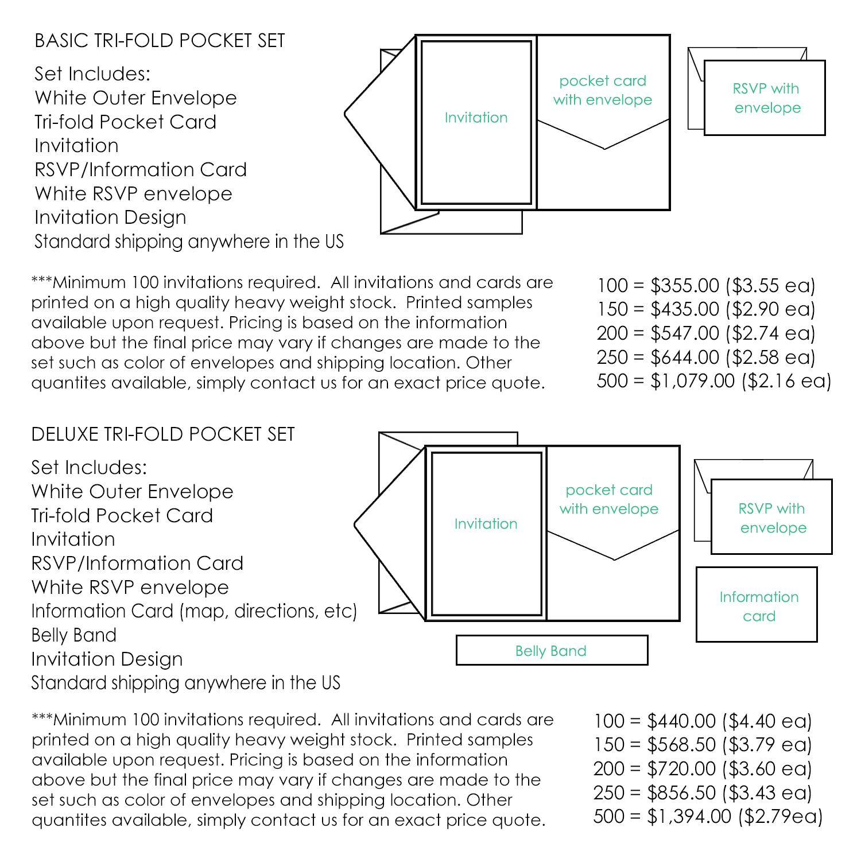 Pocket fold wedding invitations jeneze designs pocket invitations trifold stopboris Image collections
