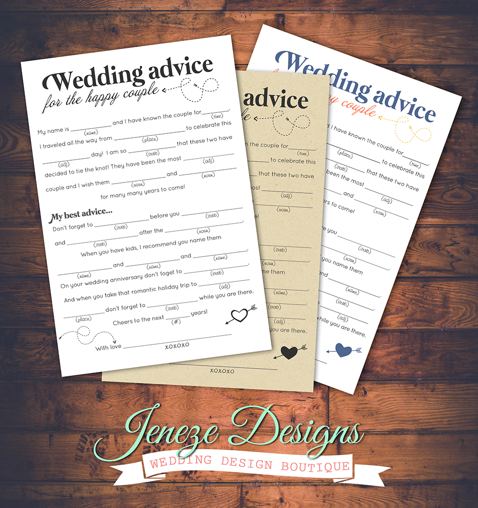 Free download Mad Libs Wedding Advice | Jeneze Designs