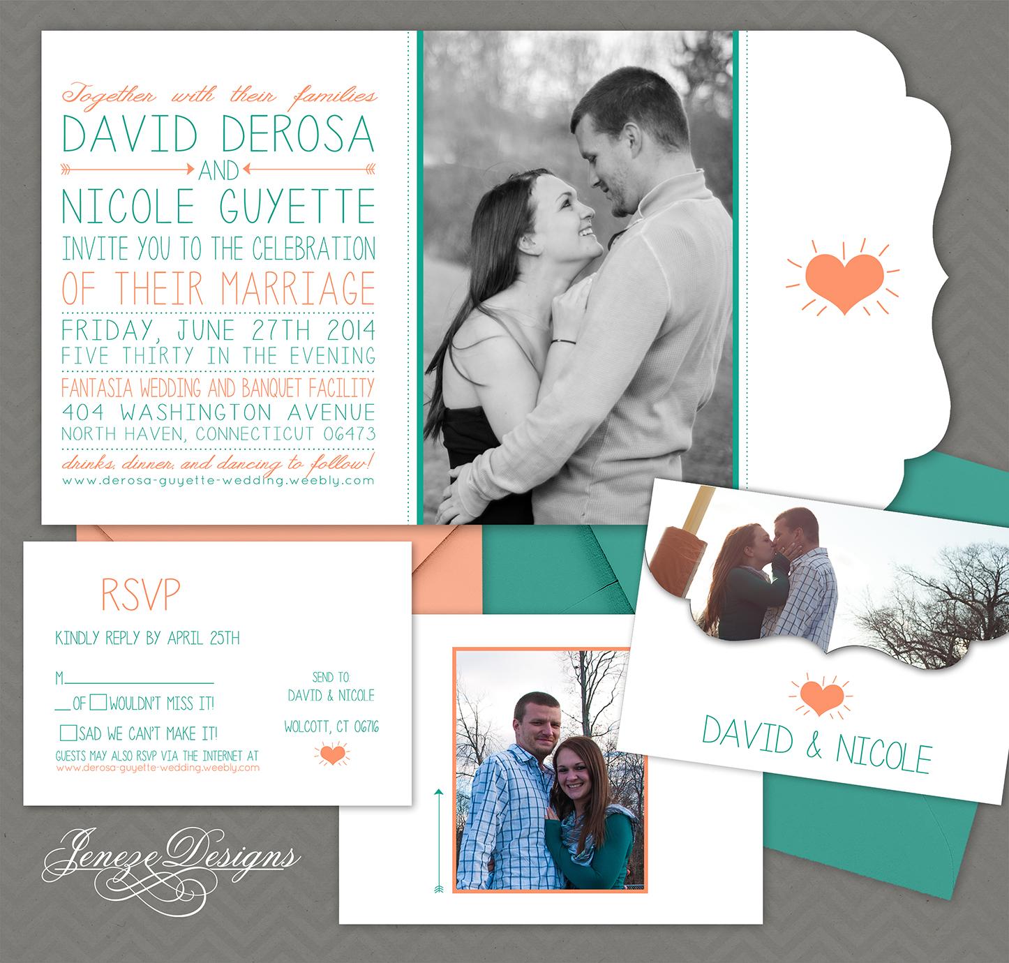 Coral and Turquoise Wedding Invitation Set Jeneze Designs