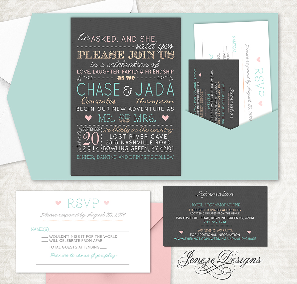 Fun Pocket Wedding Invitation Set | Jeneze Designs