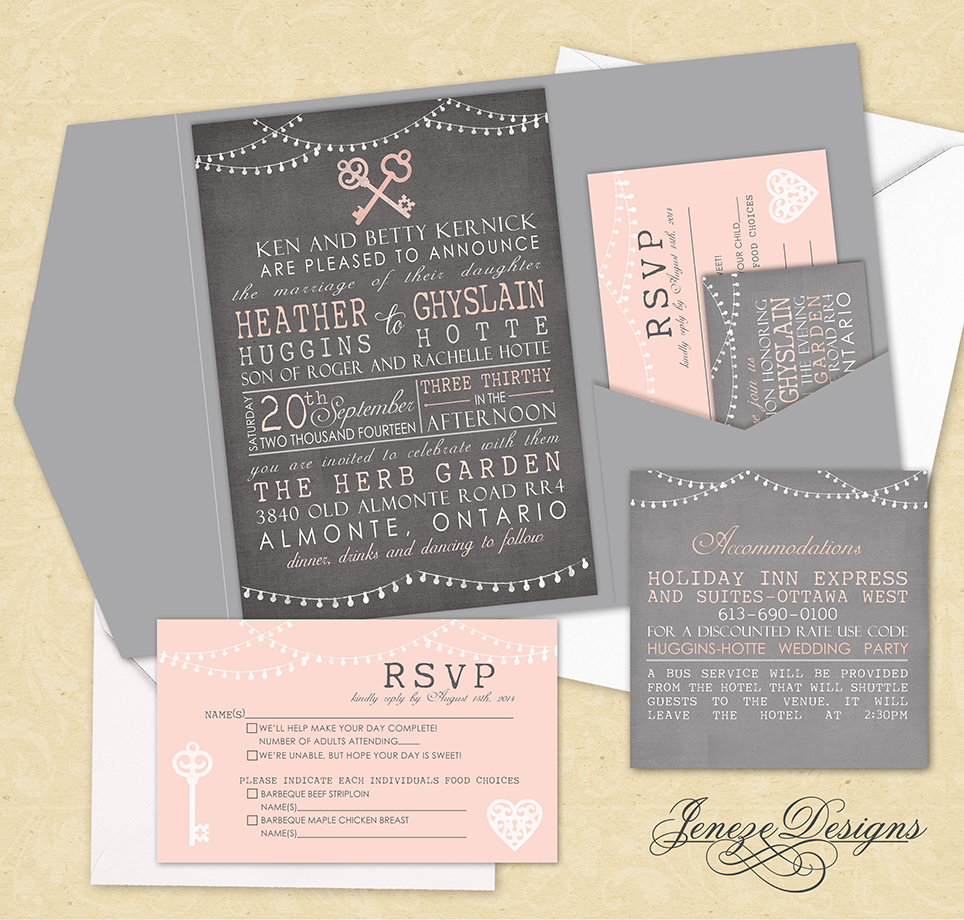Vintage Pocket Wedding Invitation set Jeneze Designs