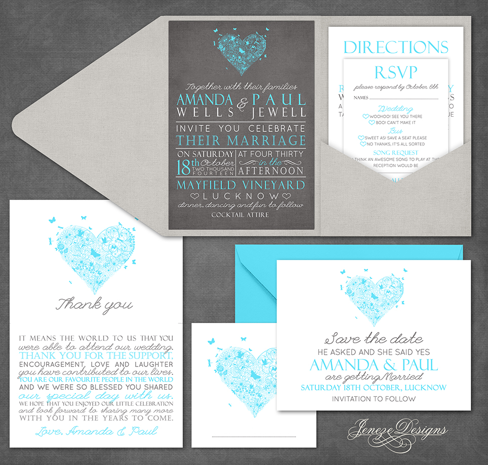 Silver and Turquoise Pocket Wedding Invitation Set Jeneze Designs