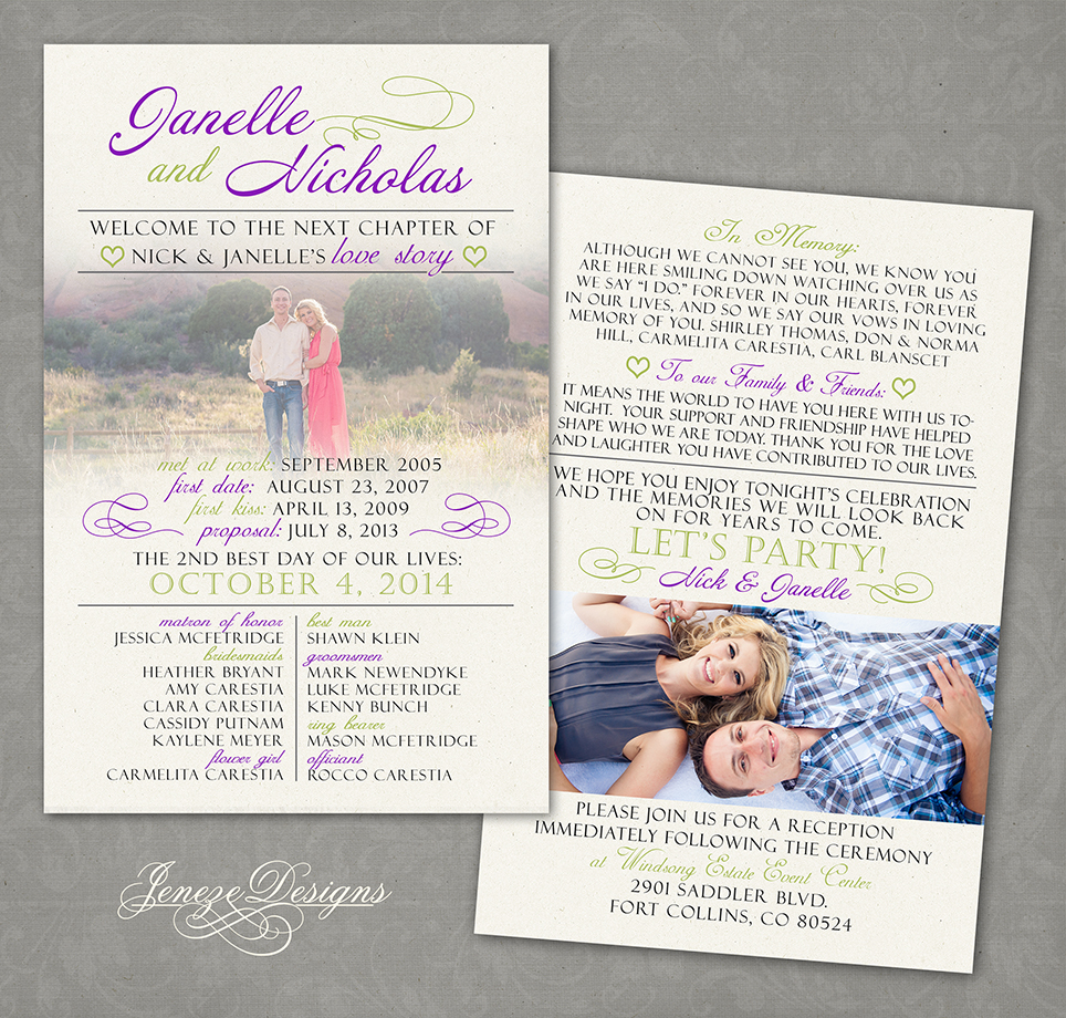 Lavender Wedding Invitation and Program | Jeneze Designs