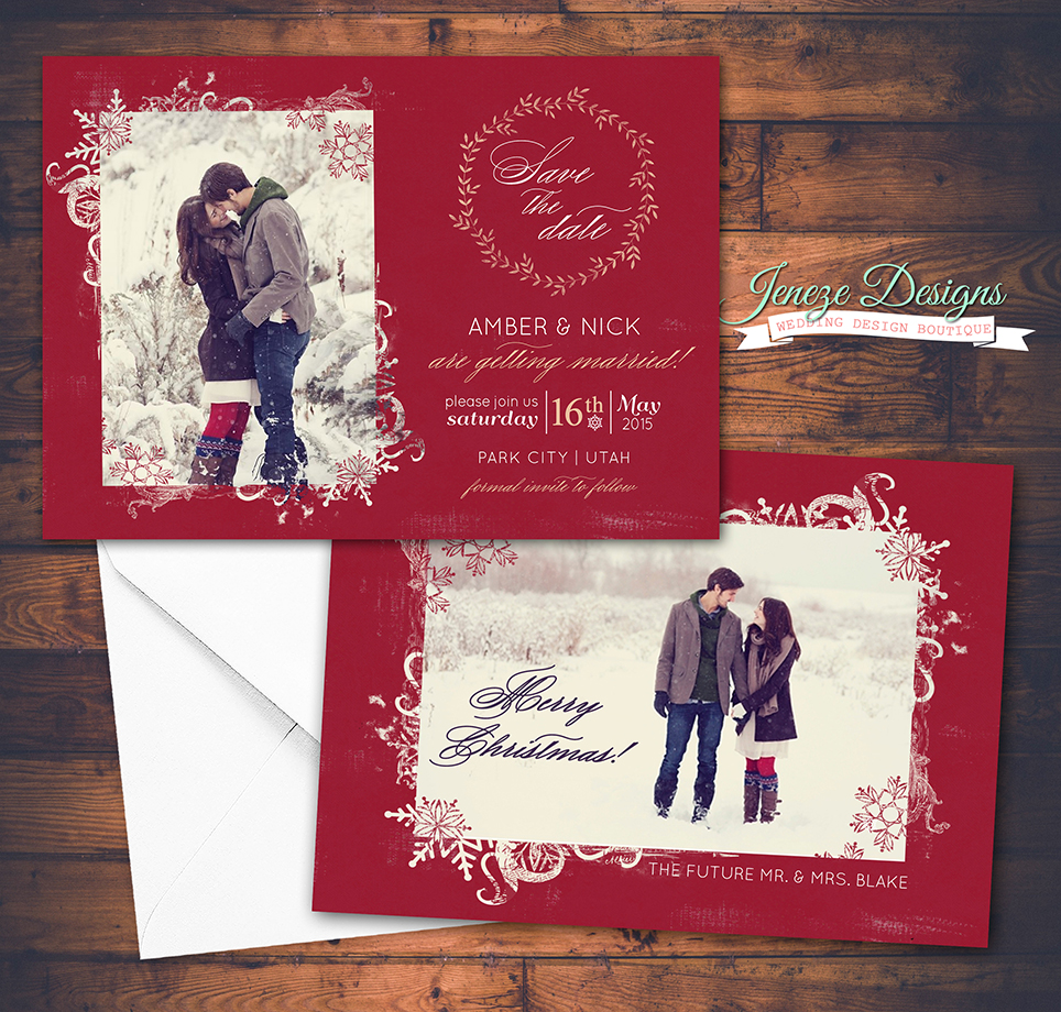 Say Merry Christmas and Save the Date | Jeneze Designs