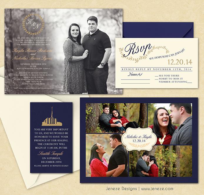 lds wedding announcement | jeneze designs, Wedding invitations