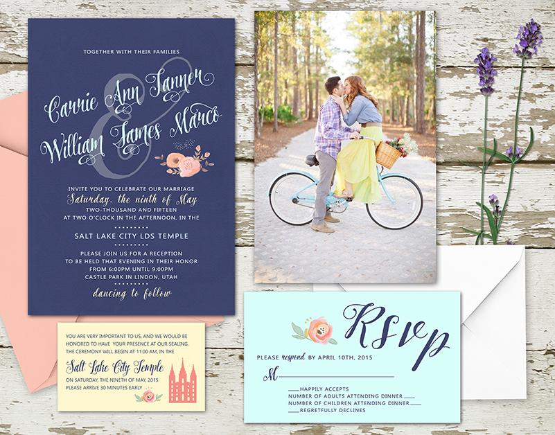 spring 2015 wedding invitation set for the lds bride