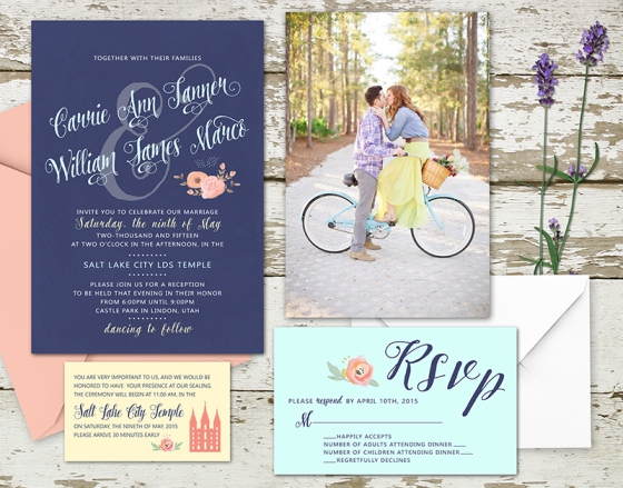Spring 2015 Wedding Invitation Set for the LDS bride