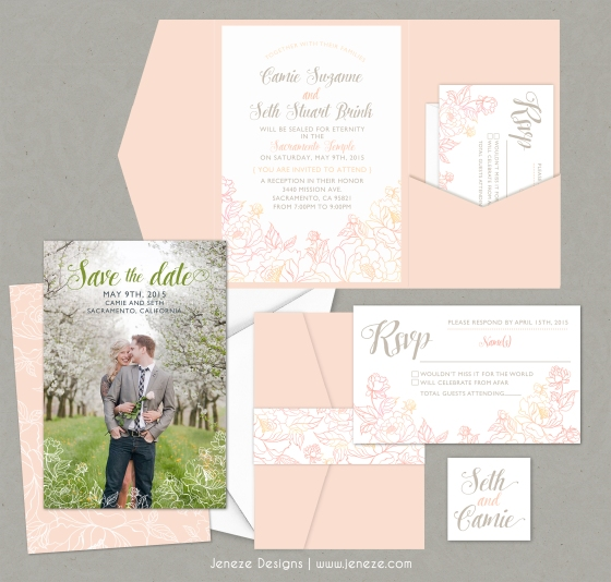 Blush Spring Wedding Invitation