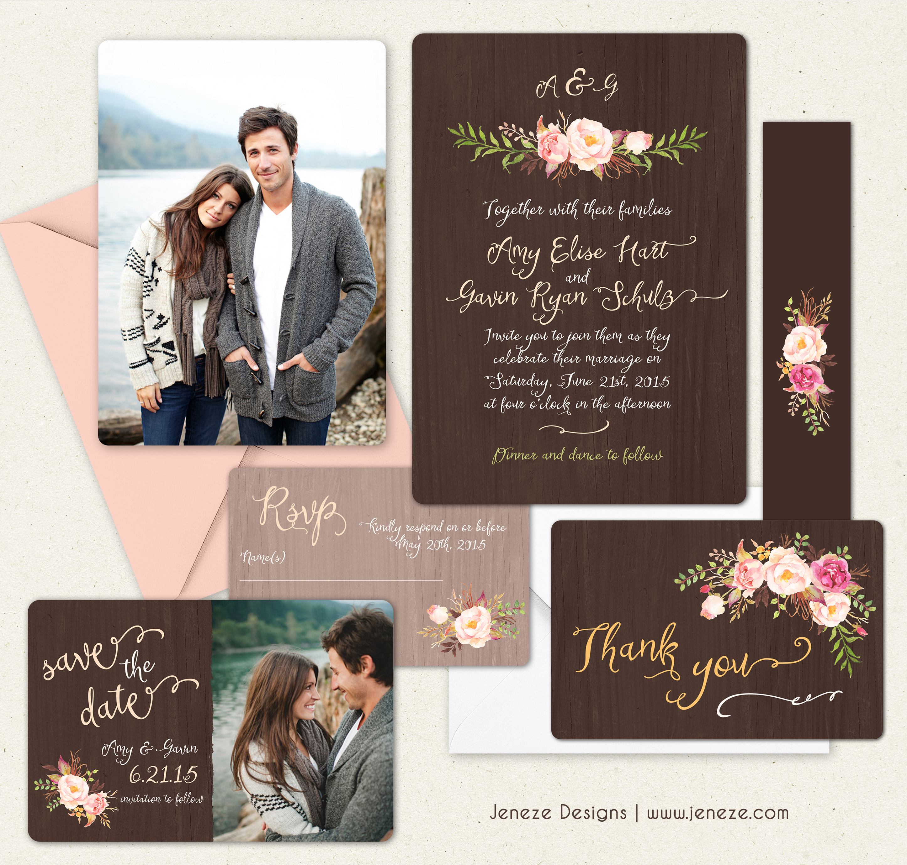 Rustic Spring Wedding Invitation Set Jeneze Designs