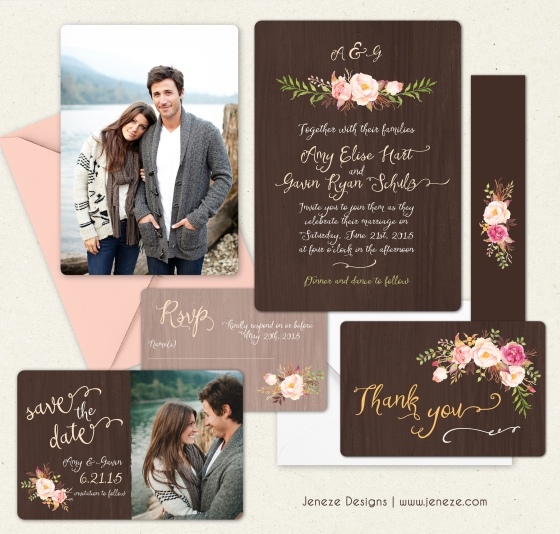 Rustic Spring Wedding Invitation Set