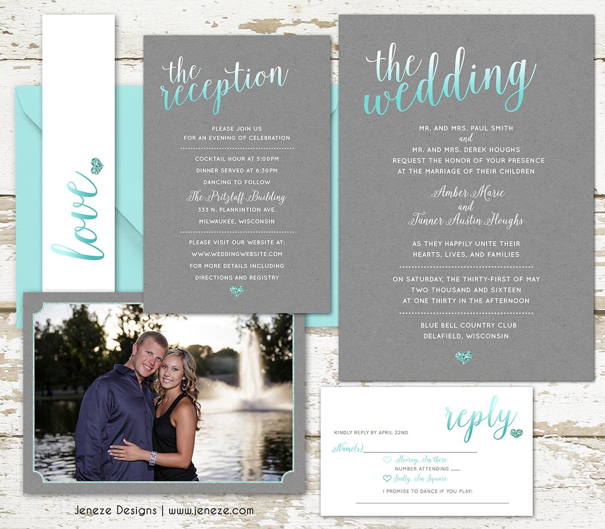 Tiffany Blue Wedding Invitation Set Jeneze Designs