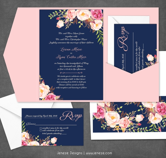 Navy Floral Wedding Invitation