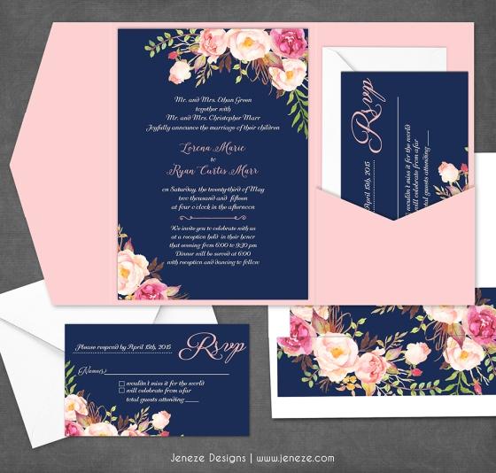 navy floral wedding invitation - Navy And Coral Wedding Invitations