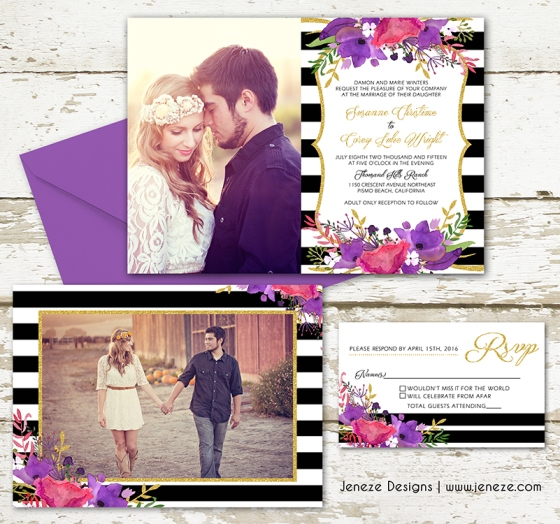 Wedding Invitation Stripes and flowers