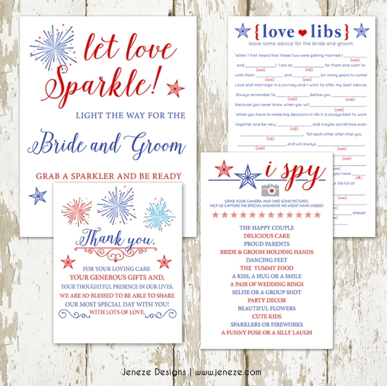 4th of July Wedding Paper Printables