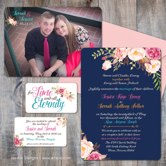 Floral LDS Wedding Announcement