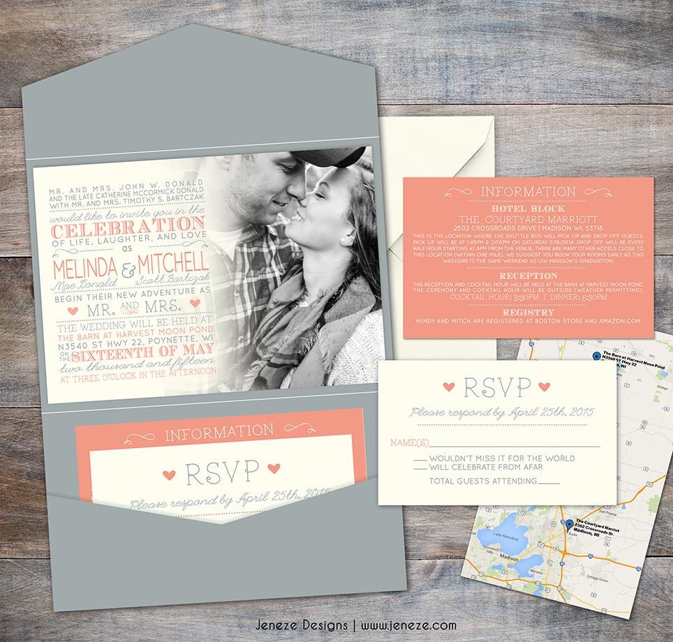pocket invitations | Jeneze Designs