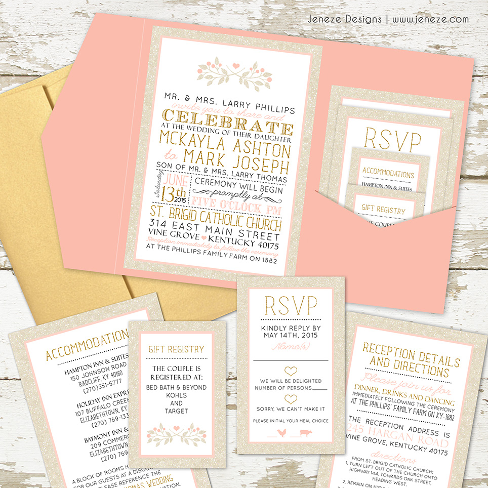 Today I am sharing this fun wedding invitation set designed for McKayla and Mark