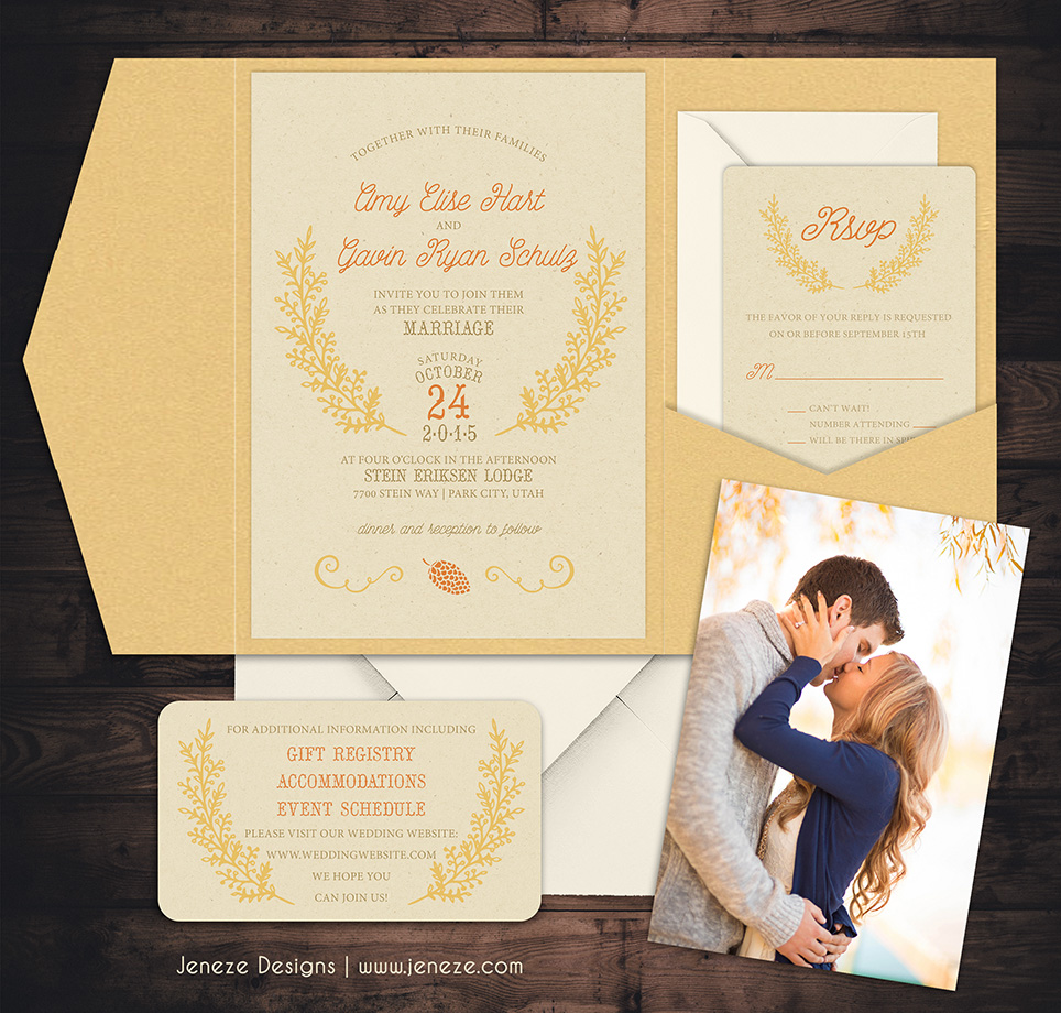 New Fall Wedding Invitations | Jeneze Designs