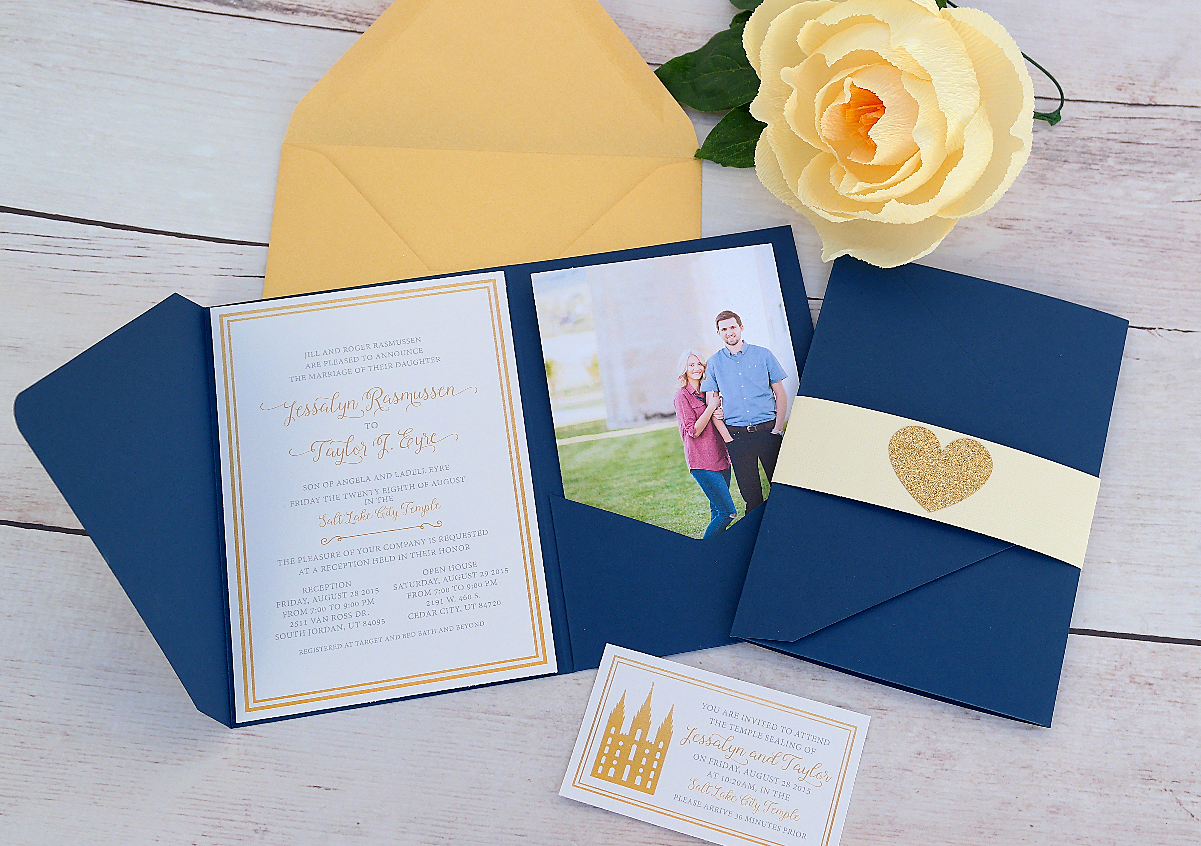 Classic Gold And Navy Wedding Invitations
