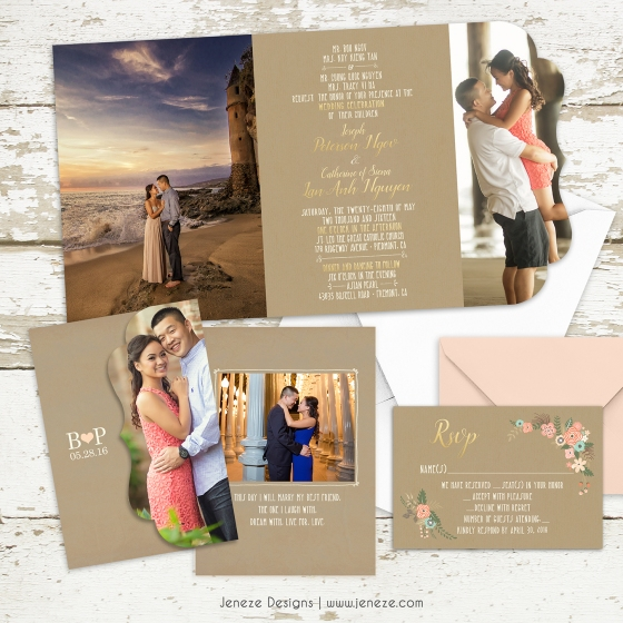 tri-fold wedding invitation | jeneze designs, Wedding invitations