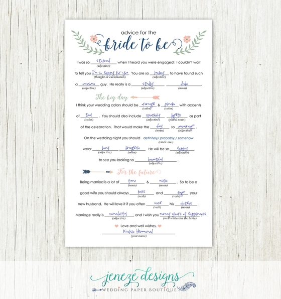 Wedding shower advice cards template wedding dress for Bridal shower advice cards template