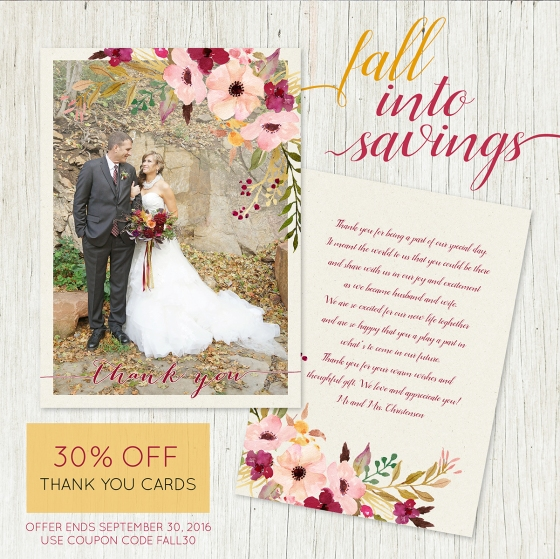 thank-you-sale-fall wedding invitations and cards for fall or summer weddings