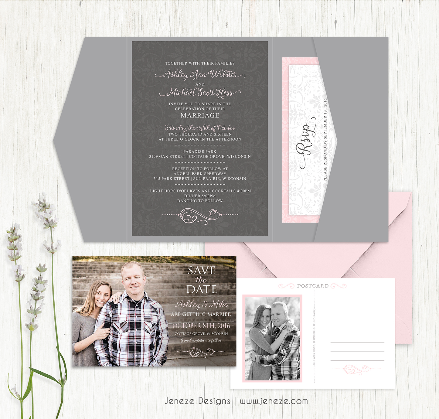 Pick your unique wedding invitation with unlimited options with pretty pink and grey pocket invitations complete with save the date postcards monicamarmolfo Choice Image