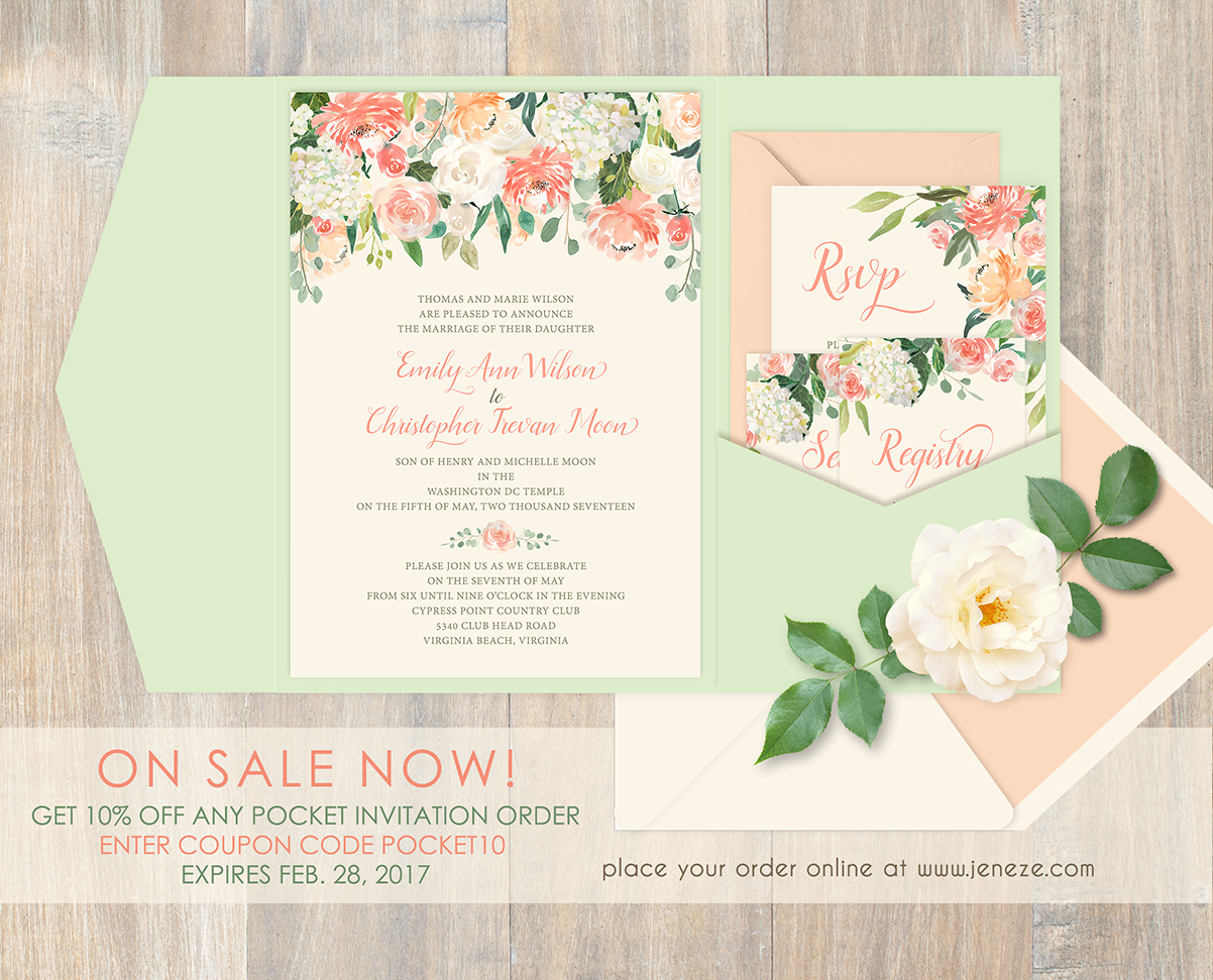 Pocket Invitations on Sale Now February 2017 Jeneze Designs